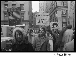 Thumbnail of Resistance antiwar demonstration near Milk Street, Boston: signs reading 'Don't             enlist, resist' and 'Democracy now'