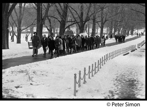 Thumbnail of Group of protesters walking along a path in the Boston Common: Resistance antiwar rally