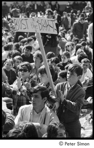 Thumbnail of Resistance on the Boston Common: young boy holding picket sign reading 'Bust the draft'