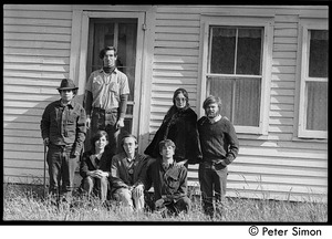 Thumbnail of Original crew at Packer Corners Farm on the day they bought the place Group includes, l. to r. standing: Richard Wizansky, Marty Jezer, Verandah             Porche, Laurie Miller; seated: Michelle Clark, Raymond Mungo, Peter Simon