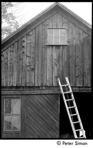 Thumbnail of Ladder leaning against the gable end of the barn, Packer Corners commune