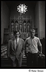 Thumbnail of Sanctuary movement and occupation of Marsh Chapel Raymond Kroll (left) and Thomas Pratt, given sanctuary at Boston University after             going AWOL from military service, standing in front of the chancel