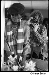 Thumbnail of Peter Tosh backstage while on Saturday Night Live, photographed in a mirror by             Peter Simon