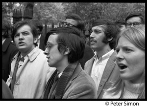 Thumbnail of Resistance rally: anti-draft and anti-Vietnam war protesters marching on Boylston Street near Emerson College Joe Pilati, Raymond Mungo, and Elliot Blinder (l. to r.)