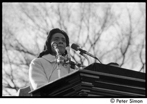 Thumbnail of Coretta Scott King speaking at the Vietnam Moratorium demonstrations