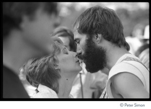Thumbnail of John Hall kissing an unidentified woman at the No Nukes concert and protest, Washington, D.C.