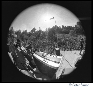 Thumbnail of Jefferson Airplane performing at the Fantasy Fair and Magic Mountain Music             Festival, Mount Tamalpais Fisheye lens-view of photographer and band on stage
