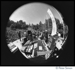 Thumbnail of Jefferson Airplane performing at the Fantasy Fair and Magic Mountain Music             Festival, Mount Tamalpais Fisheye lens-view of band on stage