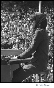 Thumbnail of Jefferson Airplane performing at the Fantasy Fair and Magic Mountain Music             Festival, Mount Tamalpais Grace Slick playing keyboard