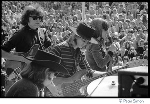 Thumbnail of Jefferson Airplane performing at the Fantasy Fair and Magic Mountain Music             Festival, Mount Tamalpais Clockwise from lower left: Spencer Dryden (drums), Jorma Kaukonen (guitar),             Grace Slick (vocals), and Jack Casady (bass)