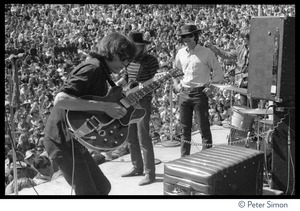 Thumbnail of Jefferson Airplane performing at the Fantasy Fair and Magic Mountain Music             Festival, Mount Tamalpais From left: Jorma Kaukonen (guitar), Jack Casady (bass), Marty Balin, and Paul             Kantner (partly obscured)