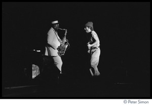 Thumbnail of Bruce Springsteen and the E Street Band in concert at the Boston Music Hall From left: Clarence Clemons (saxophone) and Springsteen (guitar)