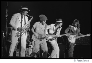 Thumbnail of Bruce Springsteen and the E Street Band in concert at the Boston Music Hall From left: Clarence Clemons (saxophone), Springsteen (guitar), Steve Van             Zandt (guitar), Garry Tallent (bass)