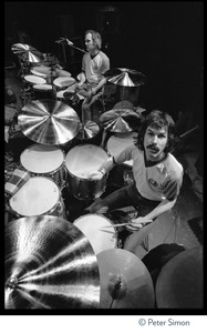 Thumbnail of Bill Kreutzman (top) and Mickey Hart, drummers for the Grateful Dead at their             kit