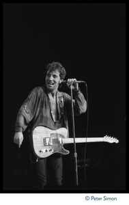 Thumbnail of Bruce Springsteen performing on stage at the No Nukes festival, Madison Square             Garden