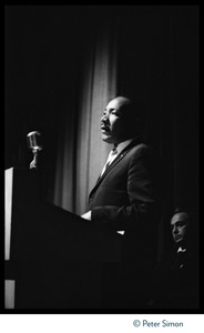Thumbnail of Martin Luther King, Jr., addressing the audience at a rally at the Fieldston             School