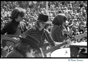 Thumbnail of Jefferson Airplane performing at the Fantasy Fair and Magic Mountain Music Festival, Mount Tamalpais From left: Jorma Kaukonen (guitar), Spencer Dryden (drums), Jack Casady             (bass), Grace Slick (vocals)