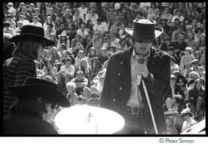 Thumbnail of Jefferson Airplane performing at the Fantasy Fair and Magic Mountain Music Festival, Mount Tamalpais From left: Jack Casady (bass), Spencer Dryden (drums), and Marty Balin (vocals)