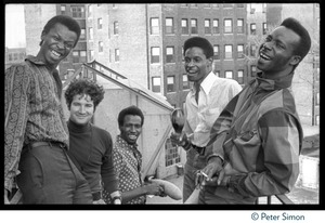 Thumbnail of Chambers Brothers on a city rooftop: (from left) George Chambers, Brian Keenan,             Joe Chambers, Willie Chambers, and Lester Chambers