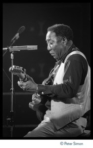 Thumbnail of Muddy Waters: the quarter-length portrait seated, playing guitar in concert