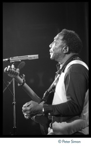 Thumbnail of Muddy Waters: sweaty quarter-length portrait seated, playing guitar in concert             and looking upward