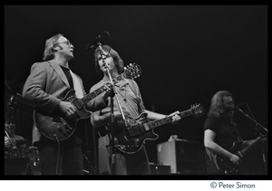 Thumbnail of Stephen Stills onstage with the Grateful Dead, Meadowlands Arena From left: Stephen Stills, Bob Weir, Jerry Garcia