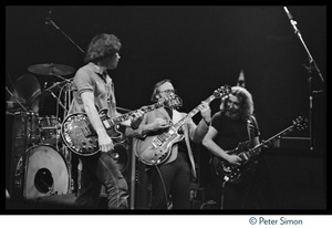 Thumbnail of Stephen Stills onstage with the Grateful Dead, Meadowlands Arena From left: Bob Weir, Stephen Stills, Jerry Garcia