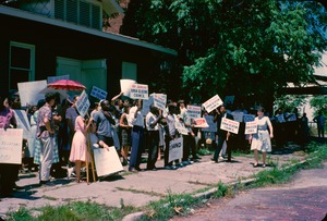 Thumbnail of Civil rights demonstrators with signs in Cairo, Illinois