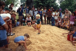 Thumbnail of Wendell Bicentennial slide show Children playing in a sandpit at the Bicentennial celebrations, Wendell