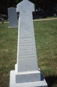 Thumbnail of Smith Meetinghouse Cemetery (Gilmanton, N.H.) gravestone: William and Sarah (d.       1865)