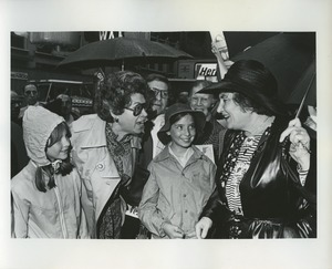 Thumbnail of Bella Abzug in a crowd after announcing candidacy