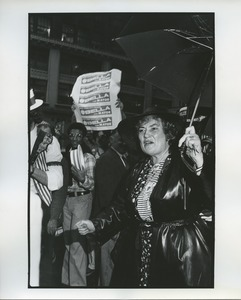 Thumbnail of Bella Abzug outside after announcing candidacy
