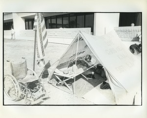Thumbnail of Max Inglett sleeping in tent during hunger strike