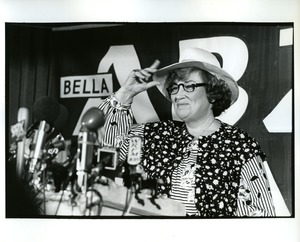 Thumbnail of Bella Abzug tossing her hat into the ring