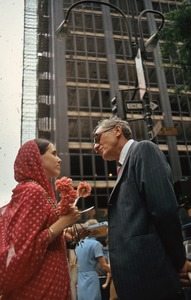 Thumbnail of Hare Krishna female proselytizer and subject, NYC