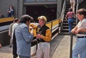 Thumbnail of A  jockey being interviewed