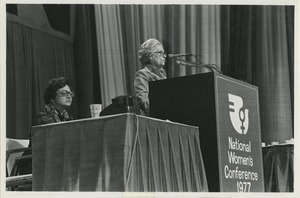 Thumbnail of Mildred Jeffrey at podium