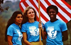 Thumbnail of Sylvia Ortiz, Peggy Kokernot and Michele Cearcy with the American flag