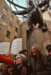 Thumbnail of Grace Paley addressing a demonstration with Gloria Steinem
