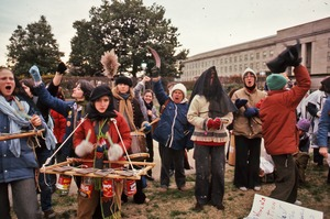 Thumbnail of Street theater band in protest at Pentagon