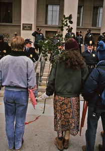Thumbnail of Woman with a leafy branch in protest at Pentagon