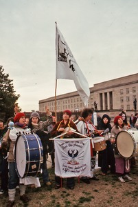 Thumbnail of Drummers leading demonstrators