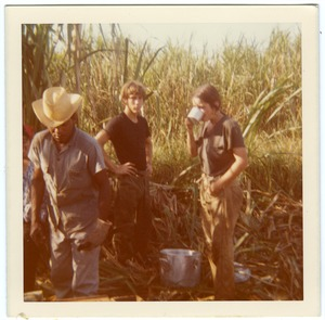 Thumbnail of Meriendas: Brigade members (Renato, Joe Griffin, Jane Krebs) on break in cane field