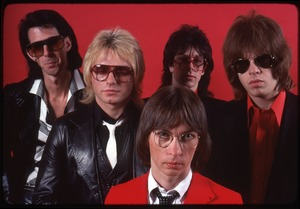 Thumbnail of The Cars, photo shoot for Candy-O: (from left) Ric Ocasek, Benjamin Orr, Greg Hawkes, Elliot Easton, David Robinson