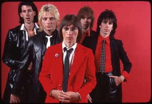 Thumbnail of The Cars, photo shoot for Candy-O: (from left) Ric Ocasek, Benjamin Orr, Greg Hawkes, David Robinson, Elliot Easton