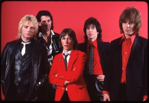 Thumbnail of The Cars, photo shoot for Candy-O: (from left) Benjamin Orr, Ric Ocasek, Greg Hawkes, Elliot Easton, David Robinson