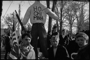 Thumbnail of Draft rally in Wakefield: young men with American flag and effigy of Ho Chi Minh