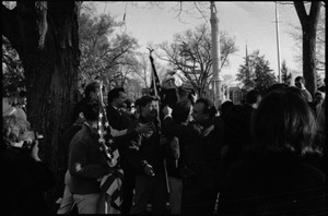 Thumbnail of Draft rally in Wakefield: group of pro-war demonstrators pulling down an effigy of Ho Chi Minh
