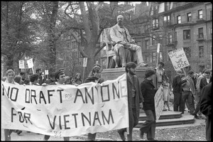 Thumbnail of Vote With your Feet anti-Vietnam War protest march protestors walking through Boston Garden holding banner reading, 'no draft for anyone for Vietnam'
