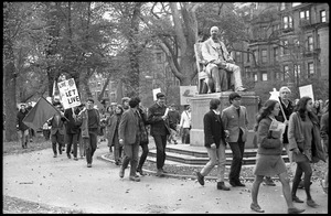 Thumbnail of Vote With your Feet anti-Vietnam War protest march protestors walking through Boston Garden